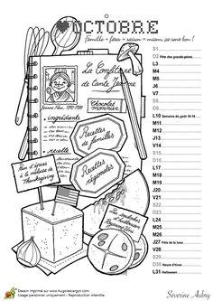 Le mois d'octobre est le moment de mitonner de bons petits plats, calendrier à colorier Colouring Pages, Adult Coloring Pages, Coloring Sheets, Coloring Books, October Calendar, Collor, Doodle Drawings, Colorful Pictures, Junk Journal
