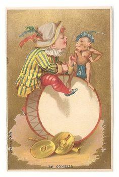 En Conseil - -  Clown Singe Tambour - -  J Bognard - Chromo - Trade Card
