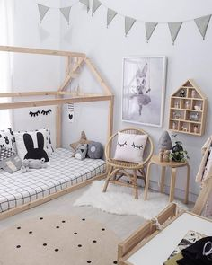 Inspiration from Instagram - @blogsachi -black and white, girls room ideas, grey, black and white room, Scandinavian style, monochrome design kids room ideas, bed