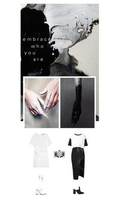 """""""FIND YOUR GRAY"""" by melekceks ❤ liked on Polyvore featuring Dorateymur, Maticevski, ComeForBreakfast, MSGM, Edie Parker, blackandwhite, ombre and gray"""