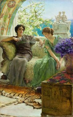 """Lawrence Alma-Tadema """"Unwelcome Confidences"""", 1895 (The Netherlands / Great Britain, Romanticism, 19th cent.)"""