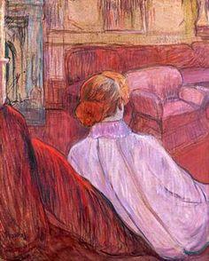 """Toulouse-Lautrec. """"Woman Sat on a Red Settea"""""""