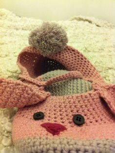 Crocheted bunny slippers !!