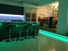 We are literally green with envy seeing our strip lighting in this awesome kitchen Awesome Kitchen, Led Strip, Strip Lighting, Cool Kitchens, Envy, Lights, Green, Ideas, Home Decor