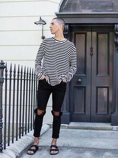 Mens Fashion Style Inspo with Striped T-shirt and Birkenstocks