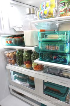 Fridge organization using clear containers and easy categories so you can quickly find what you're after