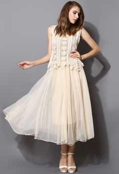 """I absolutely adore this """"Daisy Crochet Tulle Twinset Maxi Dress"""" from ChicWish! So vintage, frilly, and fun."""