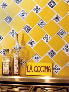 Love the diagonal design.  Solid color, with smaller blue and white tiles of different designs interset for contrast.  For backsplash or accent.