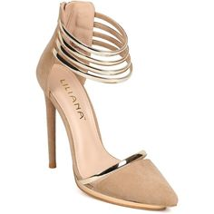 Liliana CA25 Women Suede Pointy Toe Gold Metallic Strappy Ankle Cuff... ($35) ❤ liked on Polyvore featuring shoes, pumps, suede platform pumps, stiletto pumps, suede shoes, strap pumps and metallic gold pumps