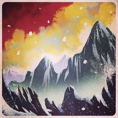 """Digital mountain doodle on a Saturday morning. #art #landscape #wacom #doodle #digitalpainting #mountains"""