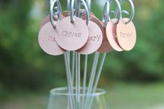 Plant Tags - Set of 10 - Round Copper Garden Herb Plant Tags Labels with Stakes
