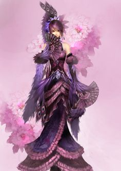 lady_money_by_naturaljuice-d58sm6s.jpg Beautiful girl with pretty violet and pink robes and fans