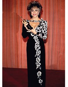 Elizabeth Taylor, In Nolan Miller at the Golden Globe Awards, 1985. -....Uploaded By www.1stand2ndtimearound.etsy.com