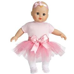 "Your First Baby Doll By Madame Alexander Baby Ballerina Doll by Madame Alaxander. $38.99. 14"" Soft Body. Sweet Baby Ballerina Doll. Made by Madame Alexander. Surface Washable. Your little girl will love this 14"" baby doll. Surface washable. For ages 3 and up.. Save 22% Off!"