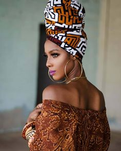 African Hair Wrap, African Wear, African Inspired Fashion, African Print Fashion, Black Braided Updo, Style Turban, Black Girl Shirts, Hair Wrap Scarf, Head Band