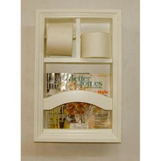 Picture of bathroom with magazine holder in wall built in recessed bathroom magazine rack for Recessed in the wall bathroom magazine rack