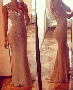 Image of Gold Sequined Cap Sleees Sheath Evening Gown With Sheer Back