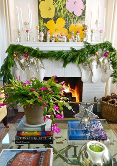 Living room in Christmas, decorate mantel, Christmas cactus, glass top coffee table styled with books, Andy Warhol, neutral stockings