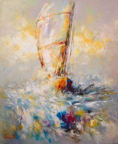 En Mer - Peinture,  60x73 cm ©2016 par Franck Hebert -                          Bateau à voile