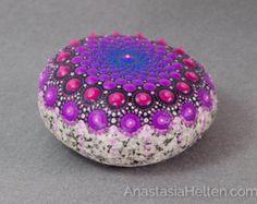 Mandala Stone Hand Painted River Rock Energy by WrenStones