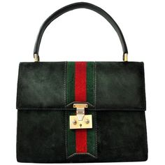 Pre-owned Gucci Vintage Suede Italy 1960s Handbag Medallion Zipper... ($1,030) ❤ liked on Polyvore featuring bags, handbags, gucci, borse, green with red stripe, green purse, red hand bags, man bag, green suede handbag and vintage purses