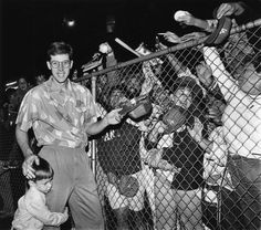 Orel Hershiser signing autographs for fans in 1988.