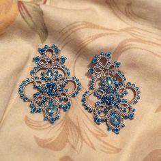 tatting earring swarovski cristals reiscarletjewelry