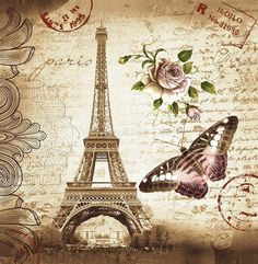 cm x cm Retro Eiffel Tower & Butterfly Shower Curtain Bathroom Waterproof Fabric Curtain - Luxury Designer Fixures