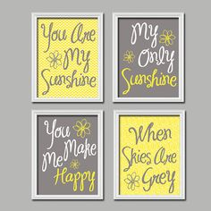 Yellow and grey and our favourite song about sunshine, a lovely way to bring our sunshine themed wedding songs into the nursery for Pip.