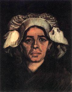 "Vincent van Gogh ""Head of a Peasant Woman with White Cap"" /  March 1885, Nuenen /  Oil on canvas, 43 x 34 cm /  Rijksmuseum Vincent van Gogh, Amsterdam"