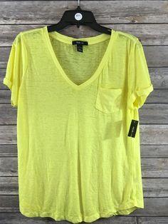 Style & Co. Women's Bright Yellow Short Sleeve V-Neck Pocket Tee Size Large NEW #Styleco #Blouse