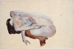 Egon Schiele | Crouching Nude in Shoes and Black Stockings, Back View | The Met