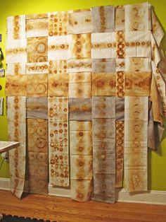 Jennifer Coyne Qudeen: What if rust dyed Sculpture Textile, Art Textile, Textile Design, Ceramic Sculptures, Shibori, Fabric Painting, Fabric Art, Tea Bag Art, How To Dye Fabric
