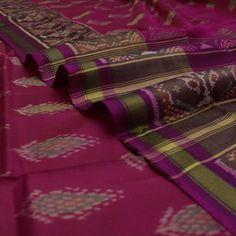 Handwoven Deep Rani Pink Patola Silk Sari with Pillar & Tree Motifs 530511952