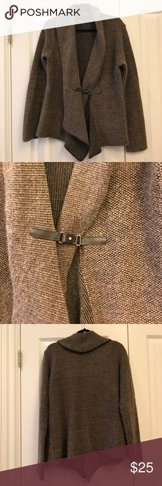 Shawl collar sweater jacket Brown and black with buckle clasp at front. Lo. Ri.  Sweaters Cardigans