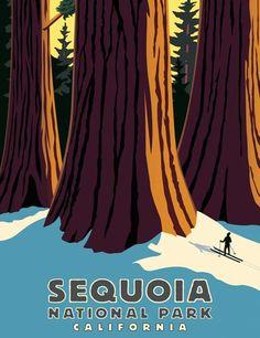 Vintage ski poster, Sequoia National Park, CA Ski Vintage, Vintage Ski Posters, Vintage Art, Vintage Style, Sequoia National Park California, National Parks Usa, Nevada, Vintage National Park Posters, Tourism Poster