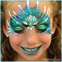 Everything Face And Body Art on Instagr. Dragon Face Painting, Girl Face Painting, Face Painting Designs, Body Painting, Easy Face Painting, Princess Face Painting, Mermaid Face Paint, Mermaid Makeup, Mermaid Art