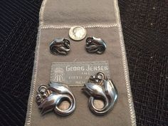 NR!! RARE & STUNNING Georg Jensen Sterling SET Of DRESS CLIPS(pins) & Earrings!
