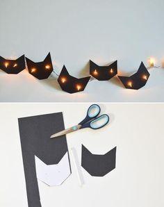 halloween decorations, craft, cat eyes, black cats, christmas lights, string lights, cat light, halloween diy, parti