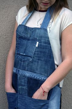 Upcycled denim apron by Yours Again