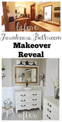 Farmhouse Bathroom Makeover Reveal. See how this 1980's bathroom was transformed into a charming modern farmhouse bathroom!