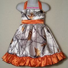 Hey, I found this really awesome Etsy listing at https://www.etsy.com/listing/202697486/camo-halter-dress-satin-snow-camo-orange