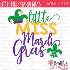 Little Miss Mardi Gras SVG Digital Cut File by CreativeCuttablesCo on Etsy