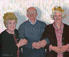 "Three person portrait from photo in acrylics on 10"" x 12"" canvas by Simon Birtall."