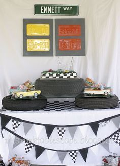 the swank tablescape.: retro car party.