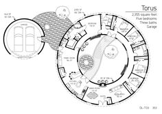 The Best Floor-plan with a courtyard or atrium Round House Plans, House Floor Plans, Monolithic Dome Homes, Dome House, Earth Homes, Courtyard House, Natural Building, Geodesic Dome, Atrium