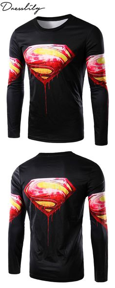 dc4c0bb12ea 3D Logo Logo Blood Superman Print Round Neck Long Sleeve Men s T-Shirt