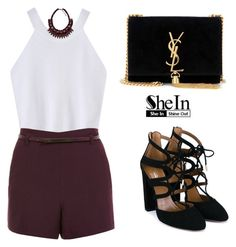 """SHEINSIDE Top"" by tania-alves ❤ liked on Polyvore featuring Miss Selfridge, Zara, Yves Saint Laurent and Aquazzura"