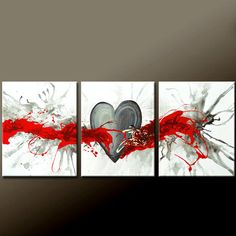 3pc Abstract Canvas Art Painting 48 Original by wostudios on Etsy, $199.00