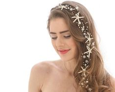 Starfish Extra Long Wedding Hair Vine Beaded Wedding Headpiece with Pearls Rhinestones and Star fish Beach Destination Wedding Headpiece